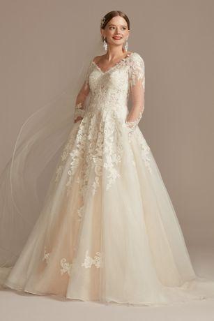 Long Ballgown Long Sleeves Dress - David's Bridal Collection