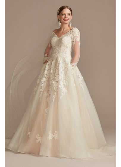 Lace and Tulle Long Sleeve Ball Gown Wedding - Delightfully alluring, the lace-appliqued, semi-sheer bodice of this