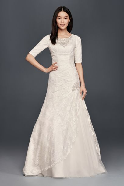 Beaded Trumpet Wedding Dress With 34 Sleeves Davids Bridal