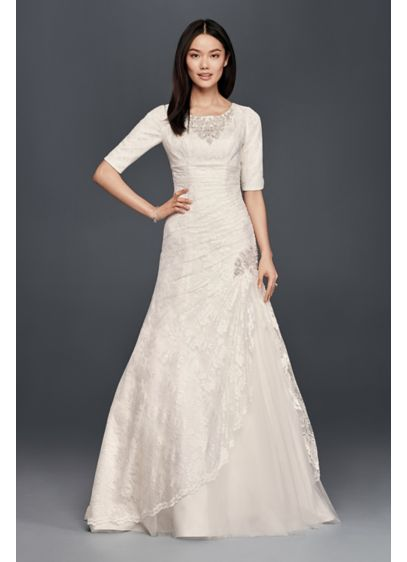 Beaded TrumpetWedding Dress with 3/4 Sleeves - Oh-so-pretty with artful details, this trumpet wedding dress