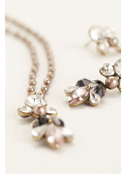 Pearl and Chain Link Crystal Embellished Set - Wedding Accessories