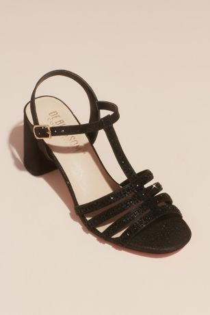 Blossom Beige;Black;Grey Heeled Sandals (Crystal T-Strap Glitter Block Heel Sandals)