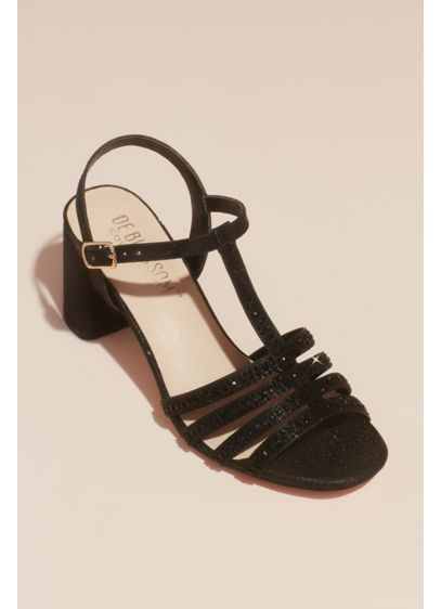 Crystal T-Strap Glitter Block Heel Sandals - These strappy sandals add a luxe statement to