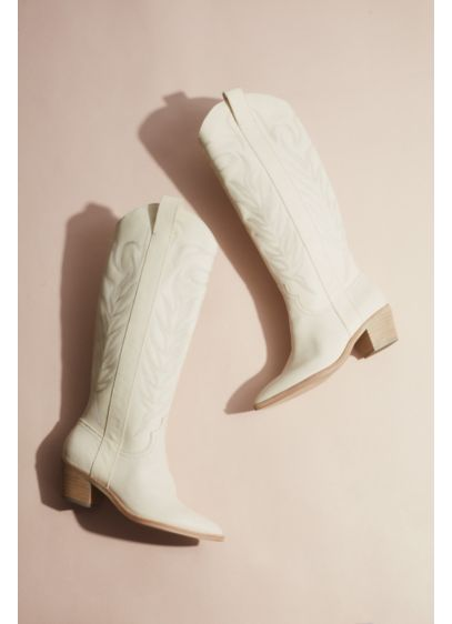 Stitched Leather Western Boots - Twirl into your reception in these amazing leather
