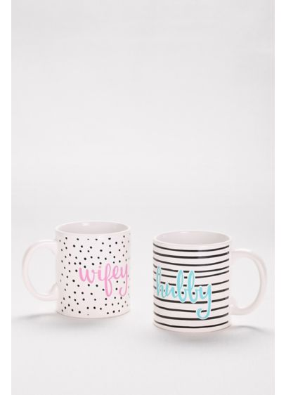 Wifey and Hubby Patterned Mug Set - Wedding Gifts & Decorations