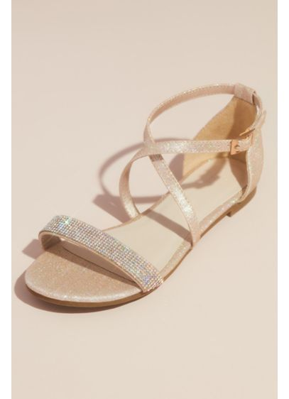 David's Bridal Pink (Metallic Criss Cross Sandals with Crystal Strap)