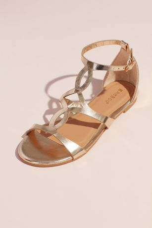 Bamboo Yellow Flat Sandals (Metallic Flat Sandals with Vamp Cutouts)