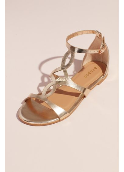 Bamboo Yellow (Metallic Flat Sandals with Vamp Cutouts)