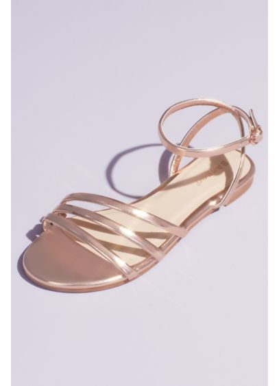 Bamboo Pink (Metallic Triple Band Flat Sandals with Ankle Strap)