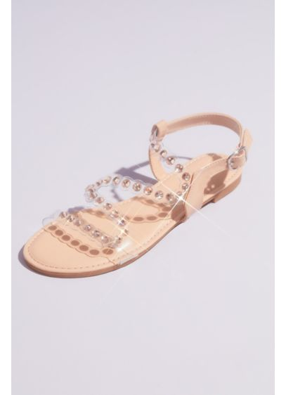 Flat Clear Strap Sandals with Iridescent Studs - These versatile flat sandals will take you from