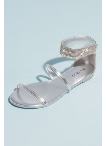 Bamboo Grey (Metallic Double Strap Crystal Ankle Wrap Sandals)
