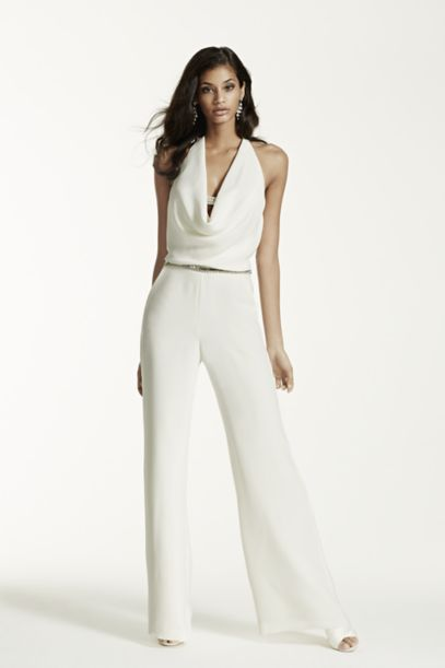 Ivory Wedding Jumpsuit With Cowl Neck Davids Bridal