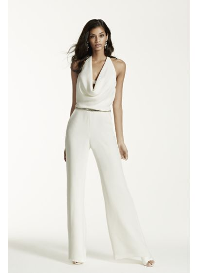 Long Jumpsuit Dress Alternatives Wedding Dress - Galina Signature