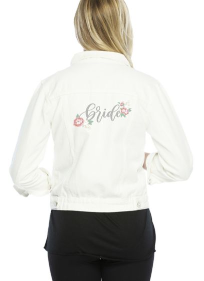 Embroidered Bride White Jean Jacket - Top off your engagement party and bachelorette looks,