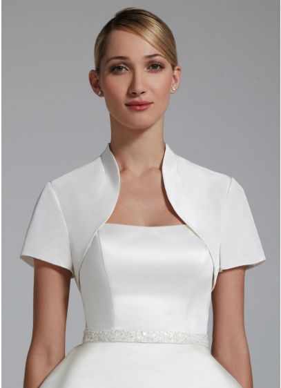Short Sleeve Taffeta Jacket. - Wedding Accessories