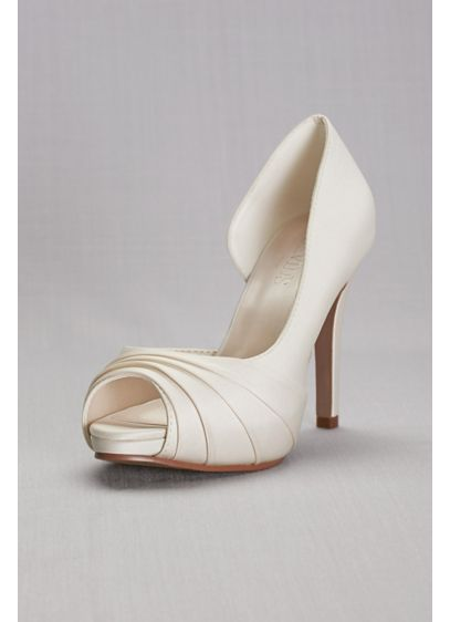 David's Bridal Ivory (Satin Pleated  D'Orsay Platform Pumps)