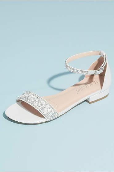 Crystal Embellished Straps Flat Satin Sandals