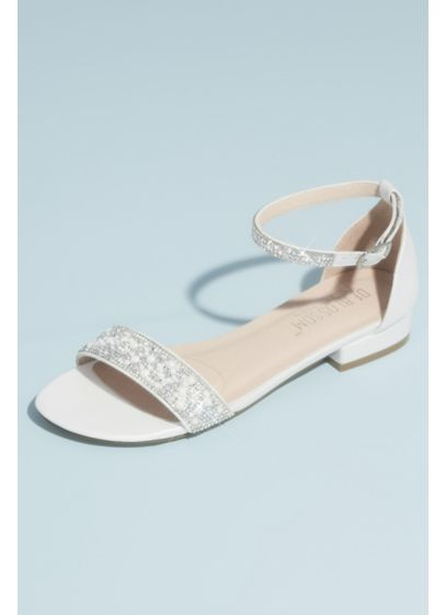 David's Bridal White (Crystal Embellished Straps Flat Satin Sandals)