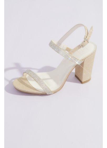 White (Two-Tone Glitter Block Heel Sandals)