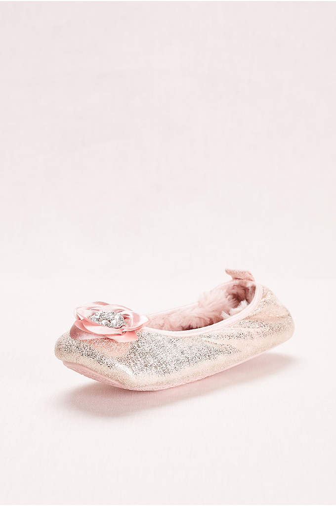 Ballerina Slipper with Crystal Embellished Rose - A silky rose with a crystal center boldly