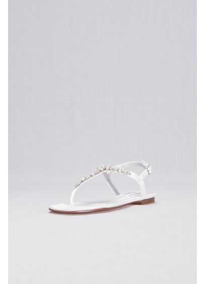 David's Bridal White (Pearl and Crystal Encrusted Dyeable T-Strap Sandal)