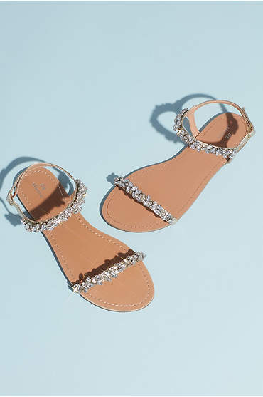 Marquise Crystal Cluster Straps Flat Sandals
