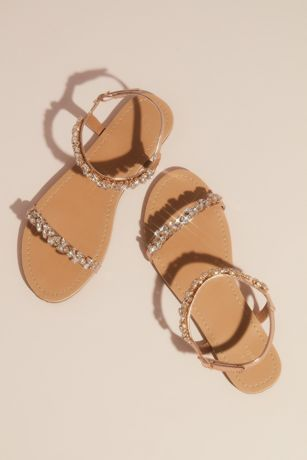 David's Bridal Pink;Yellow Flat Sandals (Marquise Crystal Cluster Straps Flat Sandals)