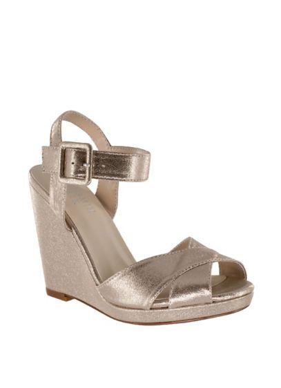 Benjamin Walk White (Crisscross Satin Dyeable Platform Wedge Sandals)