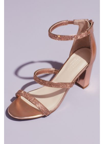 Barely There Crystal Embellished Block Mid Heel Evening Sandals Ankle Straps New