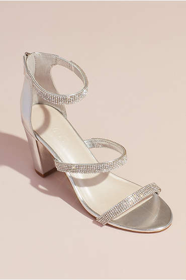 Triple-Strap Block Heel Sandals with Crystals