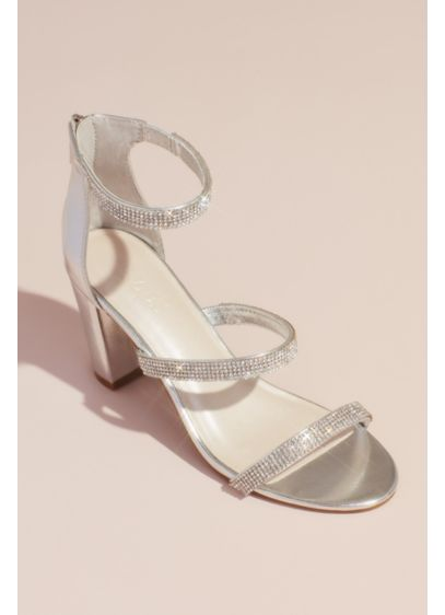 David's Bridal Grey (Triple-Strap Block Heel Sandals with Crystals)