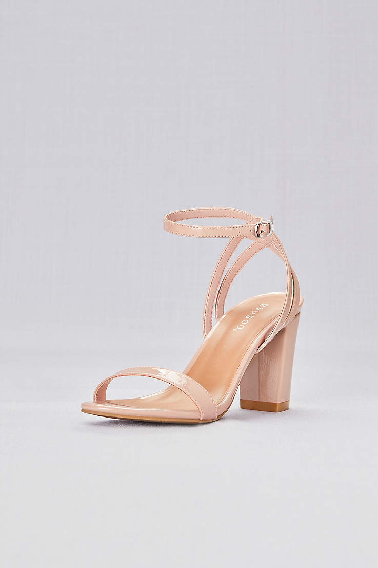888b0b08179e Bamboo Beige Heeled Sandals (Patent Sandals with Strappy Back)
