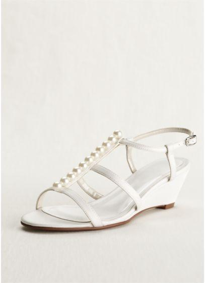 Caparros Ivory (Caparros Mid Heel Pearl Detailed Wedge Sandal)