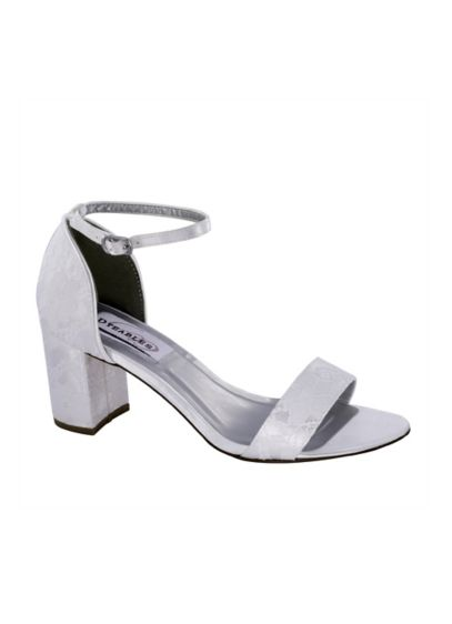 Dyeables White (Dyeable Lace Over Satin Block Heel Sandals)