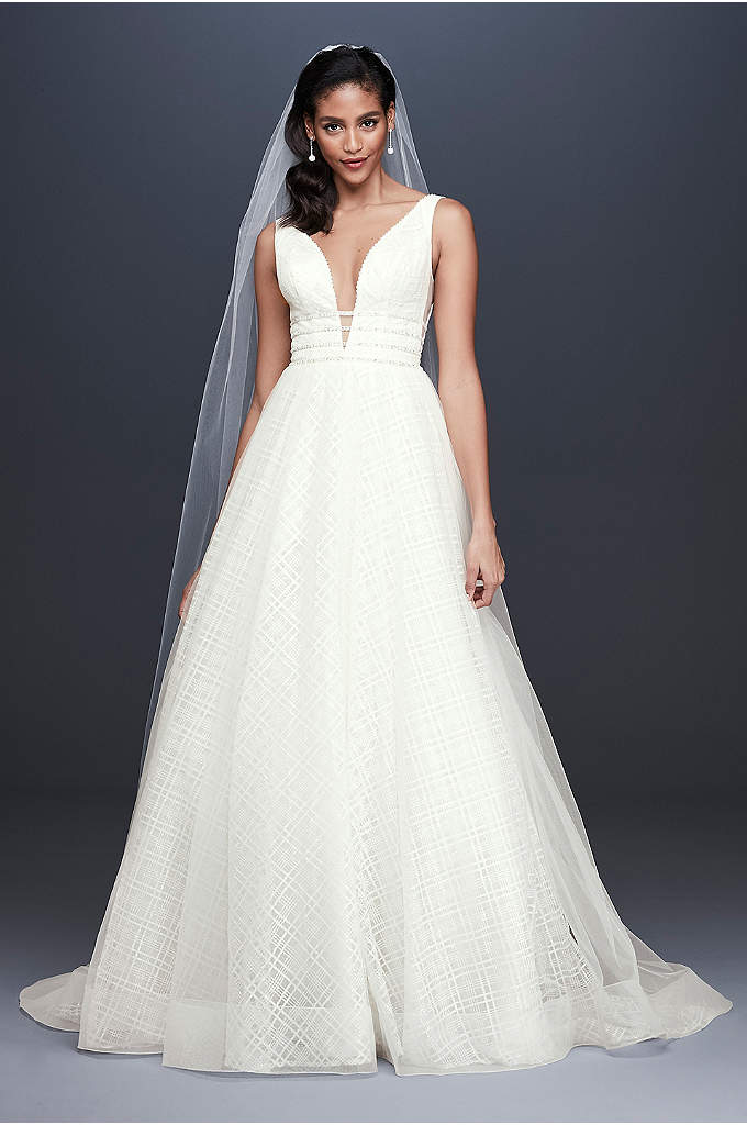 Crosshatch Glitter Tulle Ball Gown Wedding Dress - A glittering, crosshatch-patterned underskirt gives this softly collapsed