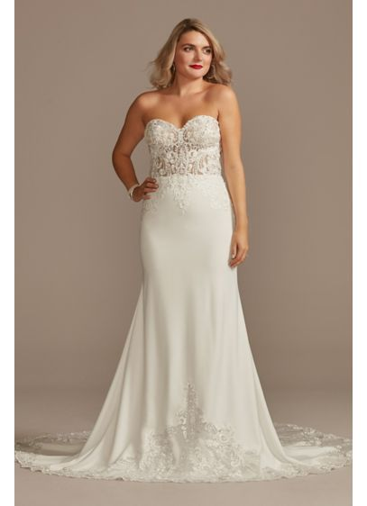 Sheer Beaded Bodice Lace Wedding Dress - Alluring and elevated, this lace and crepe sheath