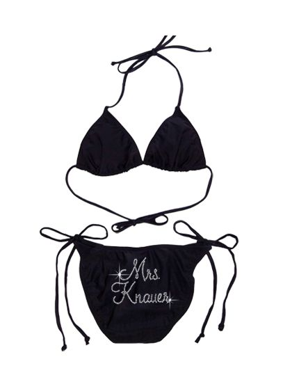 Personalized Mrs. Rhinestone Side Tie Swimsuit - You just took the plunge, so why not