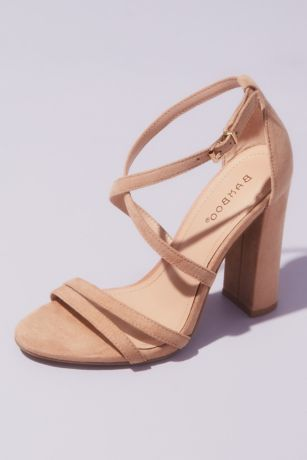 Bamboo Beige Heeled Sandals (Faux Suede Thin Strap Heeled Sandals)