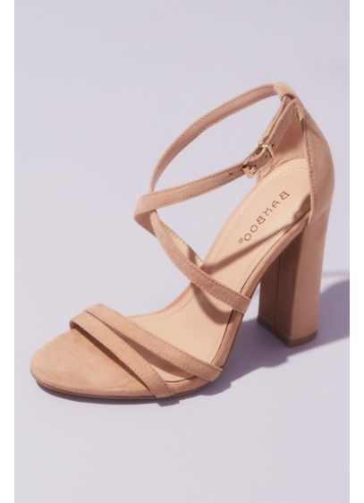Bamboo Beige (Faux Suede Thin Strap Heeled Sandals)