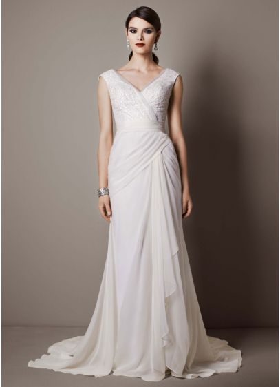 65737558058 Chiffon Sheath Gown with Sequin Tulle Bodice. SWG625. Save