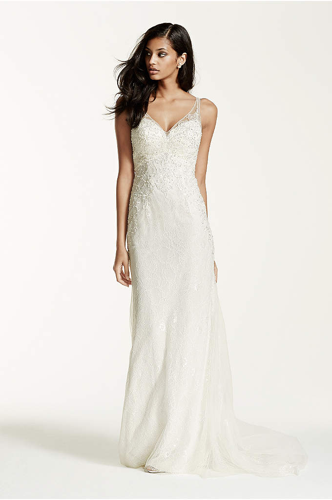 Lace Sheath Gown with V Neckline - Breathtakingly beautiful, this exceptional illusion back sheath wedding