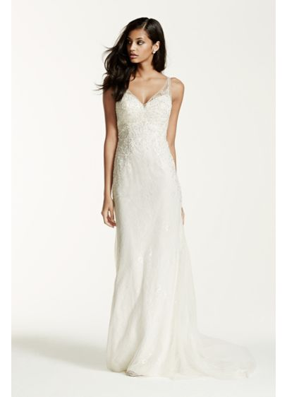 Lace sheath gown with v neckline davids bridal long sheath beach wedding dress galina signature junglespirit Choice Image