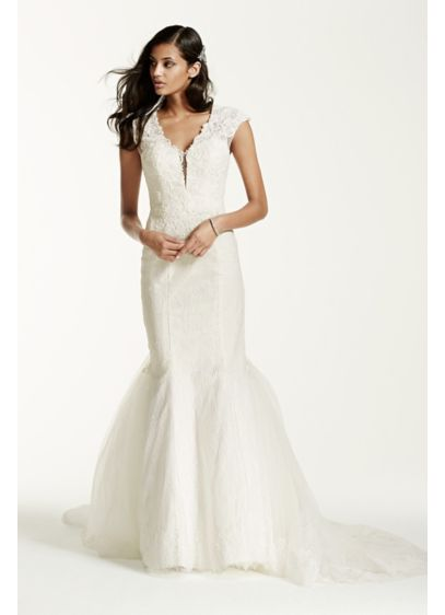 Illusion Deep Plunge Lace Cap Sleeve Wedding Dress - What a stunning vision to all you will