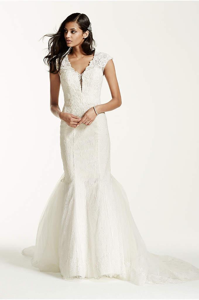Illusion Deep Plunge Lace Cap Sleeve Wedding Dress