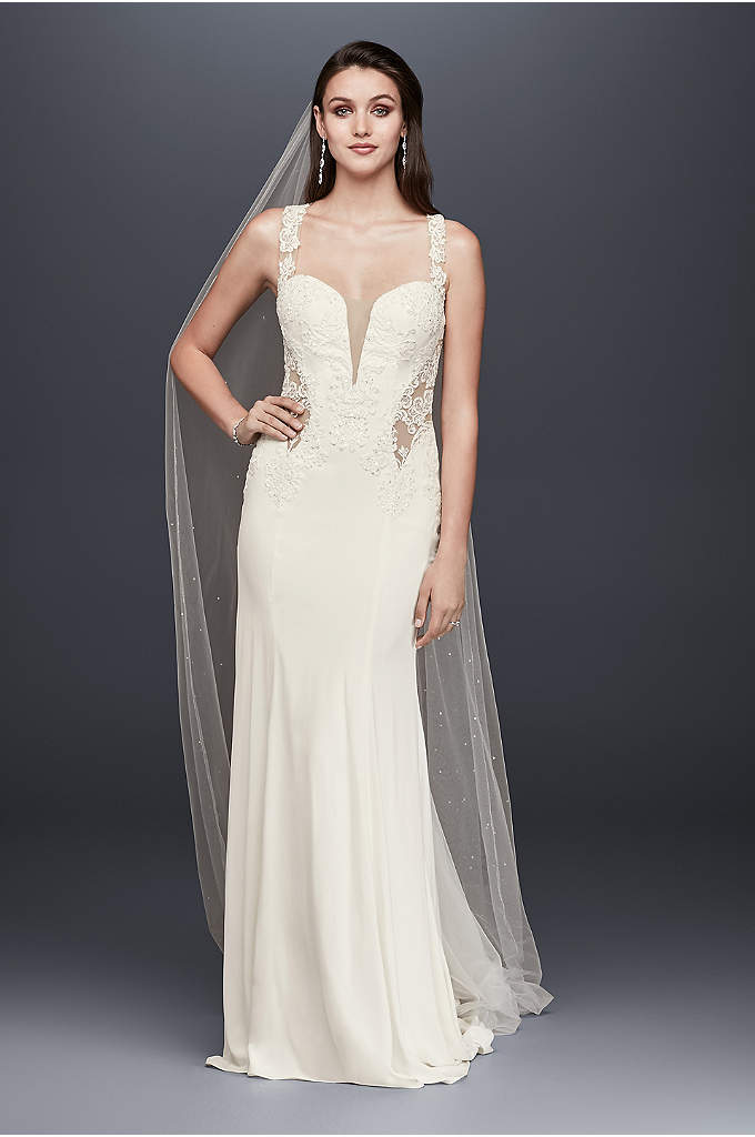 Beaded Lace Wedding Dress with Illusion Details - This crepe sheath is a show-stopping gown featuring