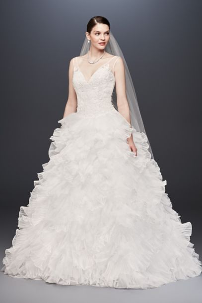 tiered wedding dress plunging v neck wedding gown with tiered skirt david s 7997