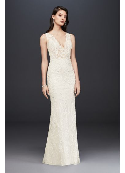 Plunging Illusion Bodice Lace Wedding Dress - The plunging tank bodice of this slim sheath