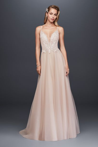 Sheer Beaded Bodice Organza A Line Wedding Dress David S