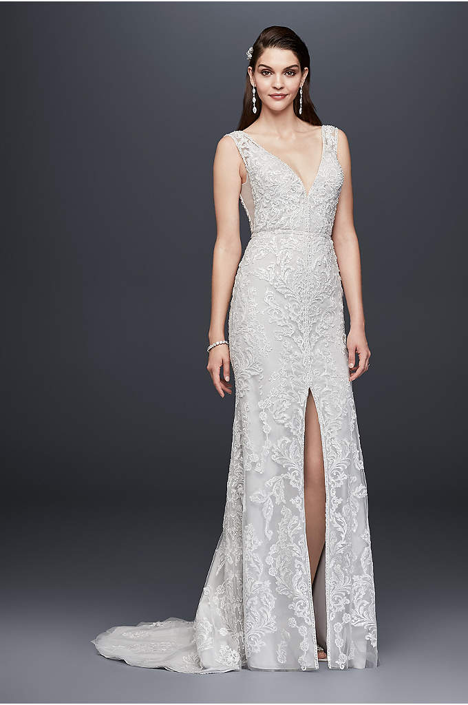 Plunging V-Neck Beaded Illusion Wedding Dress - Crafted from beaded lace (over 4,500 beads were