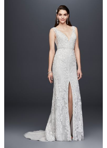 Plunging V Neck Beaded Illusion Wedding Dress Davids Bridal